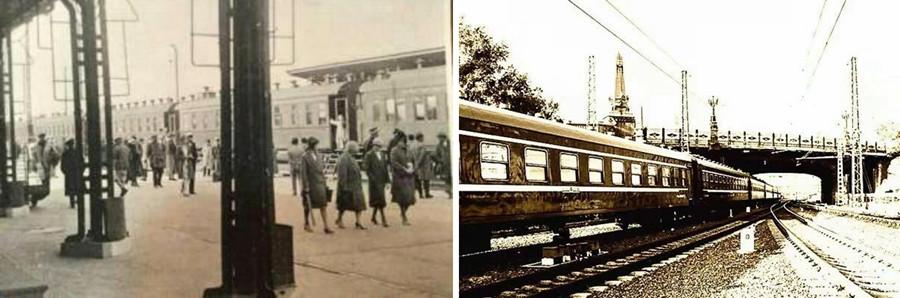 哈尔滨站的站台内景和出入哈尔滨站的火车从霁虹桥下通过